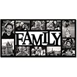 """Adeco 10 Openings Decroative Black """"Family"""" Wall Hanging Collage Picture Frame - Made to Display Four 5x7 and Six 4x6 Photos"""