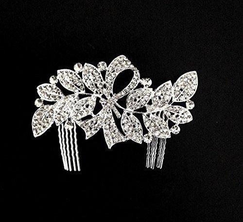 Exquisite Bridal Silver-tone Rhinestone Hair Comb Fascinator (Exquisite Silver Plated)