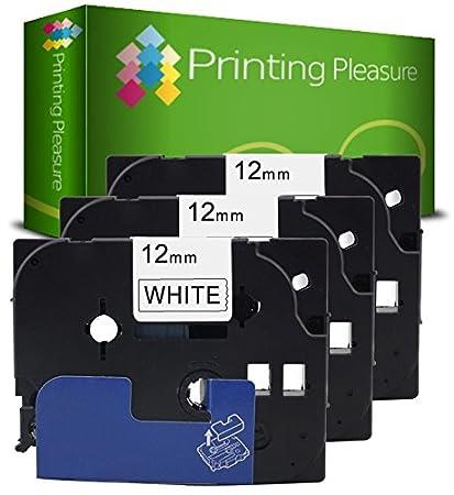 Printing Pleasure 3 x TZe-FX231 TZ-FX231 Nero su Bianco Nastro flessibile compatibile per Brother P-Touch Stampanti per etichette | 12mm x 8m | laminato Printing Pleasure no Brother original