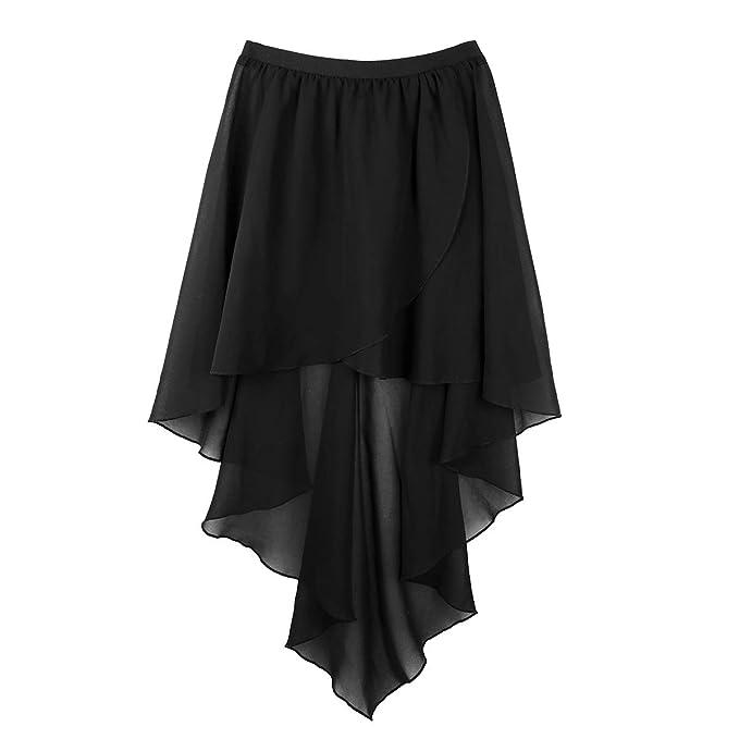 198fb4511 ranrann Women's Asymmetrical High-Low Flowy Dance Dress Chiffon Lyrical  Ballet Wrap Skirt Black One_Size