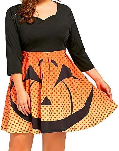 ハロウィン ワンピース コスプレ 仮装 大人 レディース 長袖 ドット かぼちゃ aライン ミニドレス 魔女 悪魔 レトロ フォ