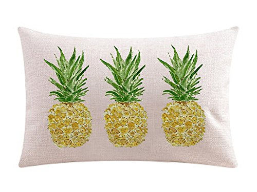 Ink Painting Fresh Fruit Yellow Pineapple Cotton Linen Throw Waist Lumbar Pillow Case Cushion Cover Home Office Decorative Relieve Lower Back Discomfort Rectangle 12 X 20 Inches