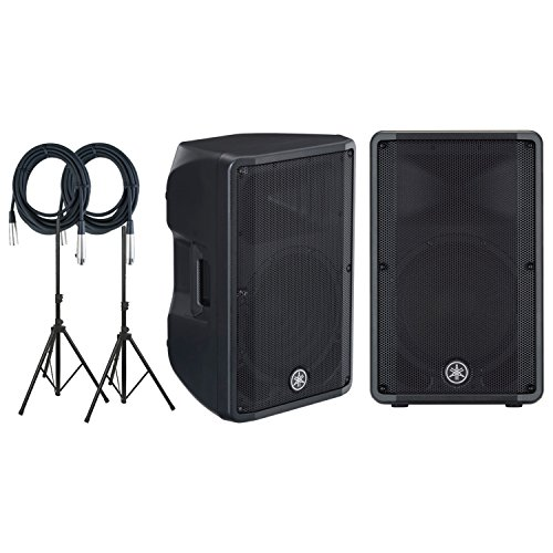 Yamaha DBR12 2 Way Bi amplified Onboard Mixer and DSP Active Powered Loudspeaker PAIR with Ultimate speaker stands and Microphone Cables