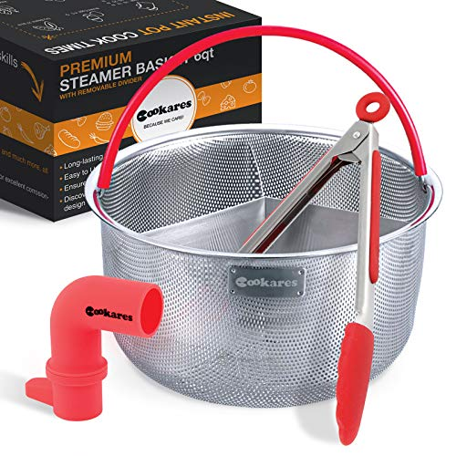 Steamer Basket for Instant Pot - Accessories With Divider Instapot fits 6 Qt 8 Quart Vegetable Pressure Cooker instant pot steamer Bonus Steam Release Accessory,Tong & eBook