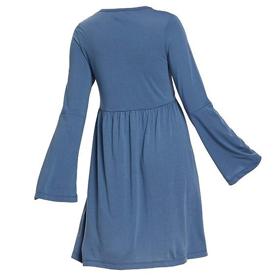 Qiusa Vestido Plisado de Cintura Alta con Volantes y Manga Larga Acampanada (Color : Azul, tamaño : XX-Large): Amazon.es: Hogar