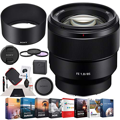 Sony SEL85F18 85mm F1.8 Medium Telephoto Prime E-Mount Lens Premium Accessory Set with Multicoated Filter Kit + Photo Video Editing Software Suite Bundle