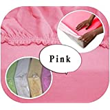Jersey 100% Cotton Fitted Sheet Suits Junior Cot Bed 160x70 cm - PINK