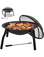Fire Pit BBQ Grill Pit Outdoor Heating Camp Brazier Portable, Foldablewith Picnic Table Function with Net Cover and Charcoal Tongs