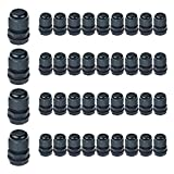 Nineleaf 40PK Black Compression Cable Gland Adjustable 6 - 12mm Joint Cable Connector, Higher Weatherproof Rating of IP66