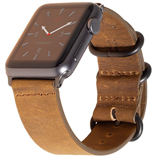 Carterjett for Apple Watch Band 42mm Leather iWatch Band Replacement, Unique Vintage Brown Crazy Horse Genuine Leather Strap, Gray NATO Loop Buckle, Adapters For Apple Watch Series 3, 2, 1 (42 M/L) by Carterjett