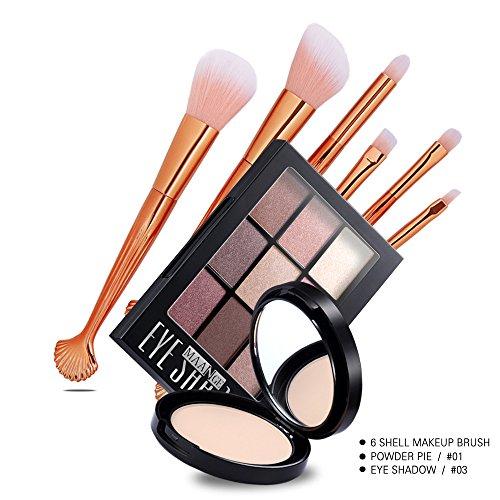 Honhui MAANGE Premium Synthetic Professional Makeup Brush Set+Super Matte Waterproof Eye Shadow (Shadow Box Logo Display Case)