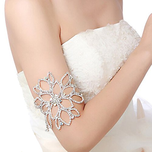 eNice Rhinestone Bracelet Flower Arm Harness Slave Chain Wedding Bridal Jewelry Armband Tiara Anklet Multipurpose