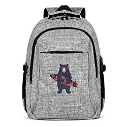 UYIQWCDFPK Summer Beach Skateboard Bear Travel Laptop Backpack for Men Women Business Backpack with USB Charging Port Cute Diaper Backpack