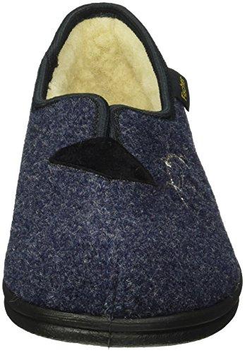 Fischer Damen-hausschuh - Pantuflas cálidas con forro Mujer Azul - Blau (Blau 555)