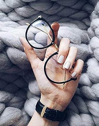 5dd5f02437 TIJN Round Vintage Optical Eyewear Non-prescription Eyeglasses Frame with Clear  Lenses for Women 00021401