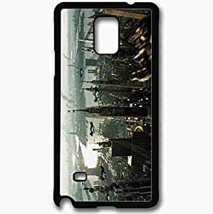 Unique Design Fashion Protective Back Cover For Samsung Galaxy Note 4 Case Fantasy Skyscraper Black