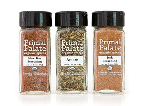 Primal Palate Organic Spices - Food Lovers Pack 3-Bottle Gift Set by Primal Palate Organic Spices