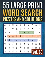 55 Large Print Word Search Puzzles and Solutions: Activity Book for Adults and kids Wordsearch Easy Magic Quiz Books Game for Adults