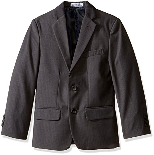 Izod Kids Big Boys' Herringbone Jacket, Charcoal, 14 (Suit Print Wool)