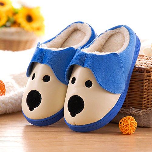 Fankou Cartoon carino bambino pantofole di cotone impermeabile invernale piscina gli uomini e le donne a rimanere nel caldo di spessore 20.5cm (21), una coppia di blu scuro