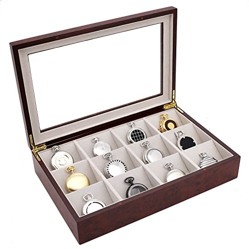 Pocket Watch Box Valet Large Compartments Burlwood Finish See Thru Top - Pocket Watch Display Cases