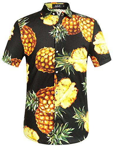 SSLR Men's Pineapple Casual Button Down Short Sleeve Hawaiian Shirt (Medium, Black) (Walmart On Day Christmas)