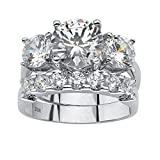 Round White Cubic Zirconia Platinum over .925 Sterling Silver 2-Piece Bridal Ring Set