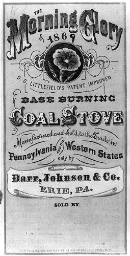 HistoricalFindings Photo: Advertisement,The Morning Glory,1869,Base Burning Coal Stove,Barr,Johnson & Co.