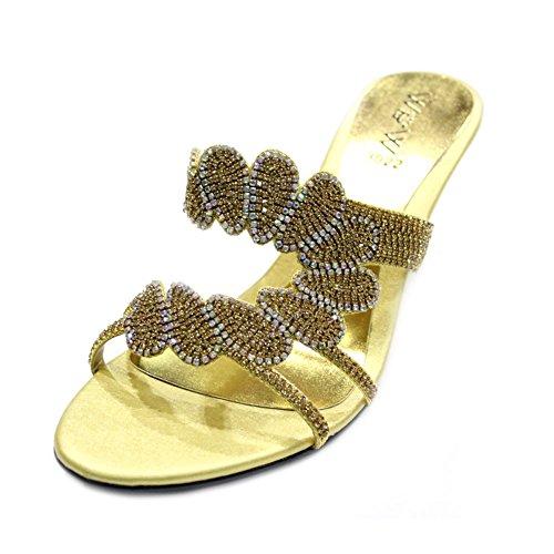 Di Festa Scarpe Sposa On Taglia Slip Nozze Donna jeri Walk Sera Zeppa Uk Gold Wear amp; Da Sandali W Diamante 6PwvvS