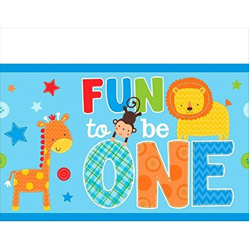 One Wild Boy Birthday Party Plastic Table Cover, Multi Colored, plastic, 54 inches x 102 inches]()