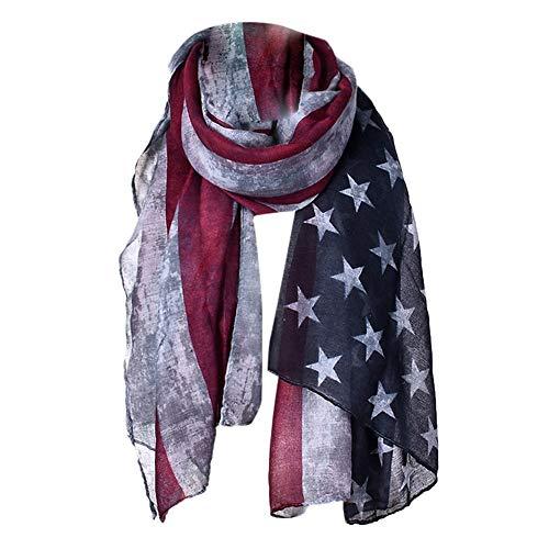 Women's Chiffon Wraps Scarf Trendy American Flag Printed Soft Shawl -