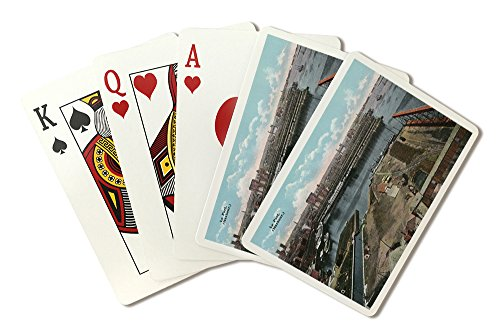 Montreal, Quebec - Aerial View of the Harbor (Playing Card Deck - 52 Card Poker Size with Jokers)