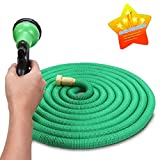Expandable Hose, VANTAKOOL 50FT Strongest Expandable Garden Hose with Double Latex Core, Solid Brass Connector and Extra Strength Fabric for Irrigation, Watering Flowers and Washing Car Flexible Hose