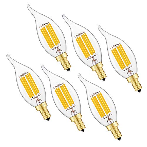 OMAYKEY LED Candelabra Bulbs 6W Dimmable, 60W Equivalent 600 Lumens 3000K Soft White, E12 Base C35 Candle Flame Shape, 360 Degrees Beam Angle, 6 Pack