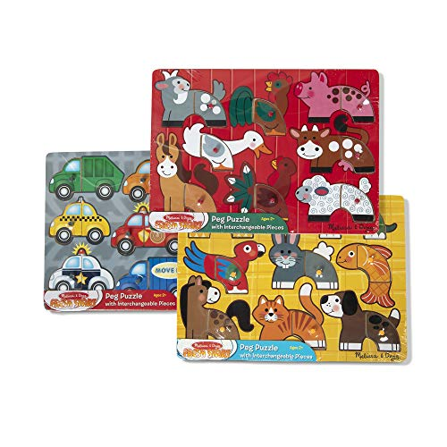 Melissa & Doug Mix 'n Match Wooden Peg Puzzles (Set of 3) - Animals and Cars ()