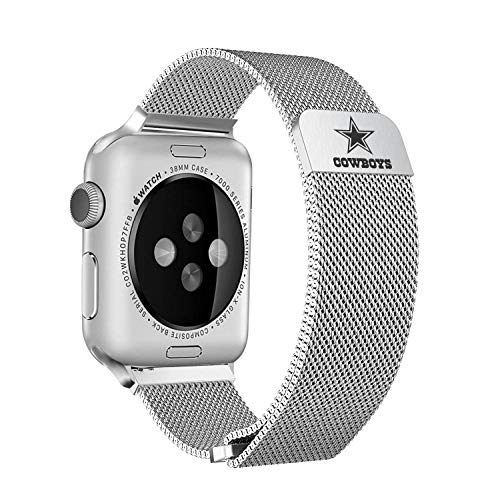 Game Time Dallas Cowboys Stainless Steel Mesh Band Compatible with Apple Watch - 38mm/40mm