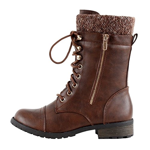 Forever Link Womens Mango-31 Runde Zehe Military Lace Up Knit Knöchel Manschette Low Heel Combat Boots Brauner Pu