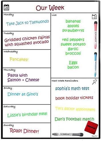 Tableau blanc magnétique Planning hebdomadaire par Magnaplan – Liste de  courses d\'épicerie pour la famille, calendrier de réfrigérateur pour  adultes ...