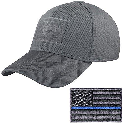 Condor Tactical Flex Cap with Thin Blue Line Morale Patch Bundle (S/M: 7-7 3/8, Graphite)
