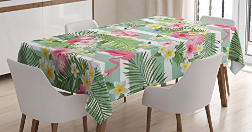 Ambesonne Flamingo Decor Tablecloth, Flamingos with Exotic Hawaiian Leaves and Flowers on Striped Vintage Background, Rectangular Table Cover for Dining Room Kitchen, 60x90 Inch, Green Pink White - 60 INCHES WIDE x 90 INCHES LONG - Highly unique. Versatile. FUN. MACHINE WASHABLE - Cold cycle. Easy to clean. Durable enough for both indoor and outdoor use. MADE FROM - High quality 100% polyester woven silky satin fabric with hand-sewn finished edges - tablecloths, kitchen-dining-room-table-linens, kitchen-dining-room - 51U9s7Zbz0L -