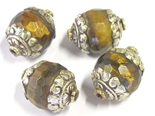 1 BEAD - Tibetan silver capped faceted Tigers eye gemstone bead 16 mm x 20 mm - BD821 (Round Facet 16mm Beads)