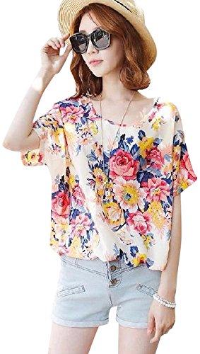 敬な組み合わせるトレイ(プチドフランセ) Petit etc Francais 花柄 ブラウス 丸首 Tシャツ 裾 紐 スピンドル ジョーゼット