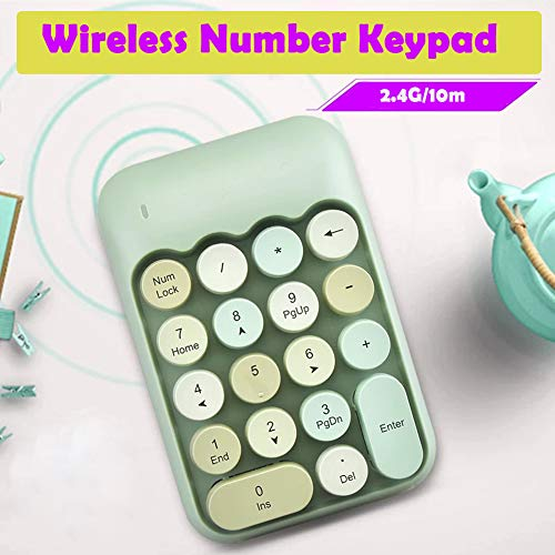Onlywe 2.4G Wireless Number Pad,Portable Cute 18-Round Key Keypad Financial Accounting Numeric Keypad Keyboard for Laptop,PC,Desktop,Notebook,etc with USB Receiver (Green Keypad Only)
