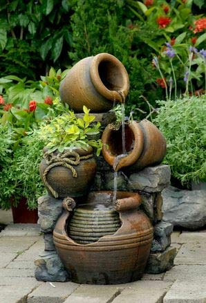 Ark Dcor- Backyard Water Fountains Outdoor -Beige Urn Design Polyresin Fiberglass with Pump - Bring Charm to Your Garden Or Veranda with This Eye-Catching Fountain (Fiberglass Urns Garden)