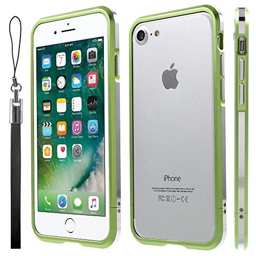 Screw Closure Aluminium Alloy Bumper Tasche Hüllen Schutzhülle Case für iPhone 7 with Strap - Green