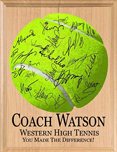 Broad Bay Tennis Coach Gift SIGNABLE Personalized Coaches Plaque for Team Signatures & Thank You Notes