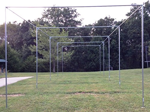 Batting Cage Frame Kit 12' x 12' x 70' EZ UP & DOWN Baseball Softball Frame (70' Batting Cage Frame)