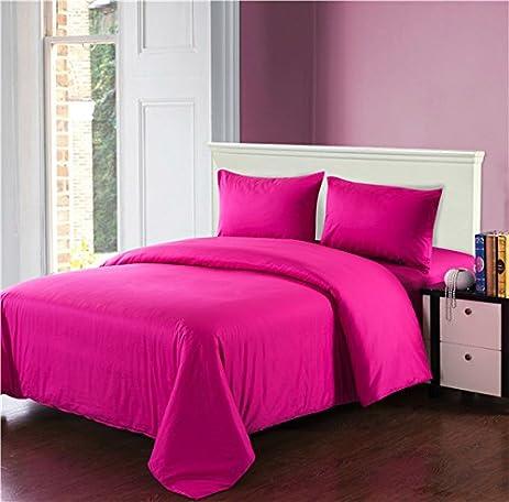 Amazon Com Tache 4 Piece Cotton Solid Hot Pink Comforter Set With
