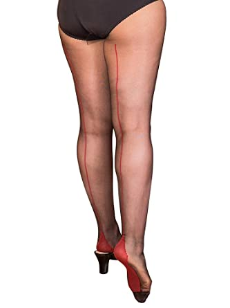 b1fafdd5230 What Katie Did Contrast Seamed Tights Black Red  Amazon.co.uk  Clothing