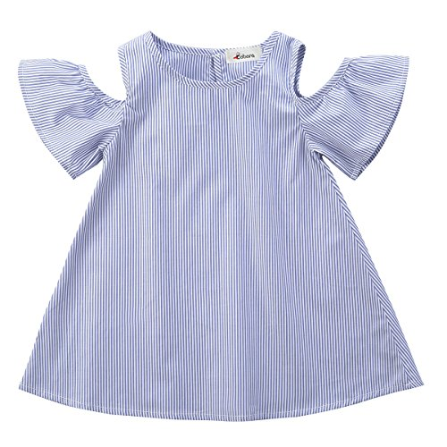 d6231bc6d How Long to Read BOBORA Toddler Baby Girl Summer Off Shoulder Stripe Dress  Outfit